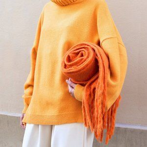 Orange Chunky Fringe Scarf